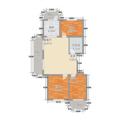 华府国际 临漳水岸3室1厅1卫1厨1133.00㎡户型图