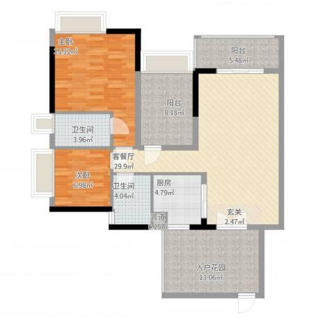 招商金山谷2室1厅2卫1厨130.00㎡户型图
