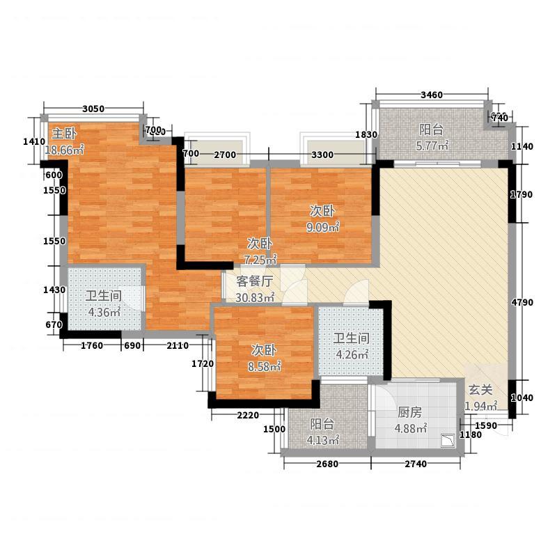 嘉禾国际h3户型4室2厅2卫1厨