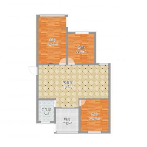红星苑3室1厅1卫1厨135.00㎡户型图
