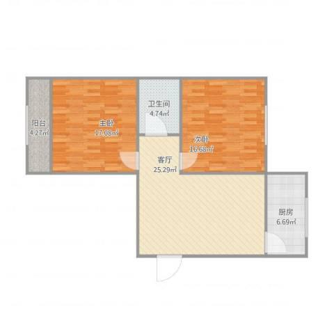 水晶花园2室1厅1卫1厨100.00㎡户型图