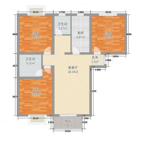 福成・金色嘉园3室1厅2卫1厨98.19㎡户型图