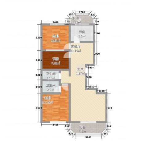 华府国际 临漳水岸3室1厅2卫1厨2115.00㎡户型图