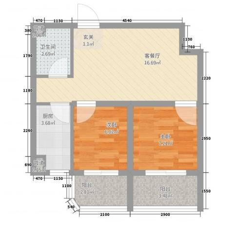 东方家园2室1厅1卫1厨55.00㎡户型图
