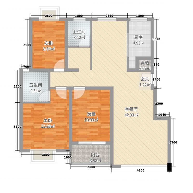 梅兰家园1户型3室2厅1卫1厨