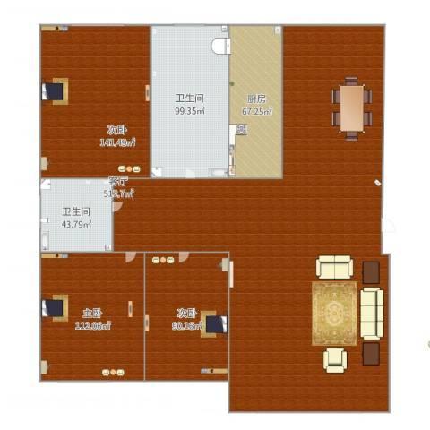 兰溪文苑3室1厅2卫1厨1360.00㎡户型图