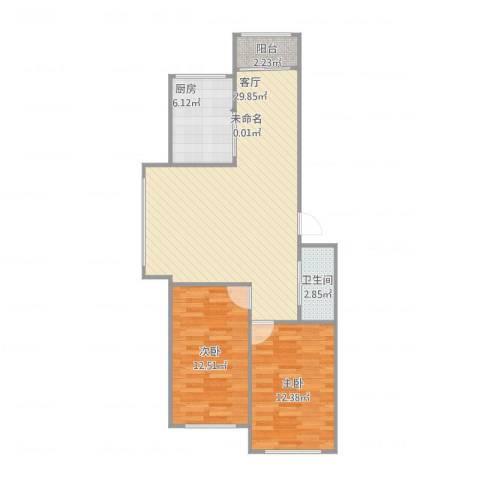 永川康安尚都小区2室1厅1卫1厨89.00㎡户型图