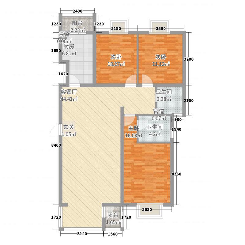 东方家园128.00㎡户型3室