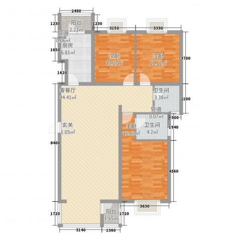 东方家园3室1厅2卫1厨128.00㎡户型图