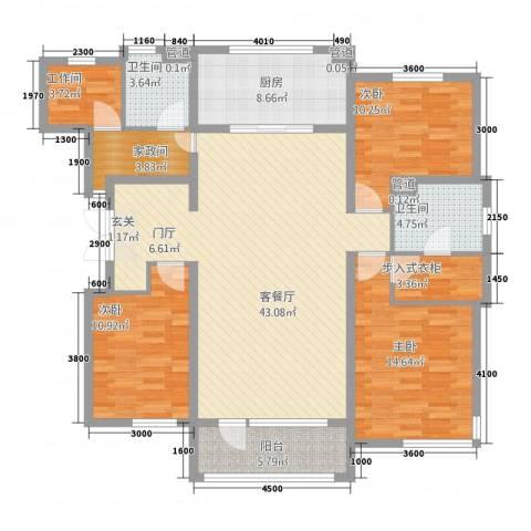 鸿城国际3室1厅2卫1厨112.90㎡户型图