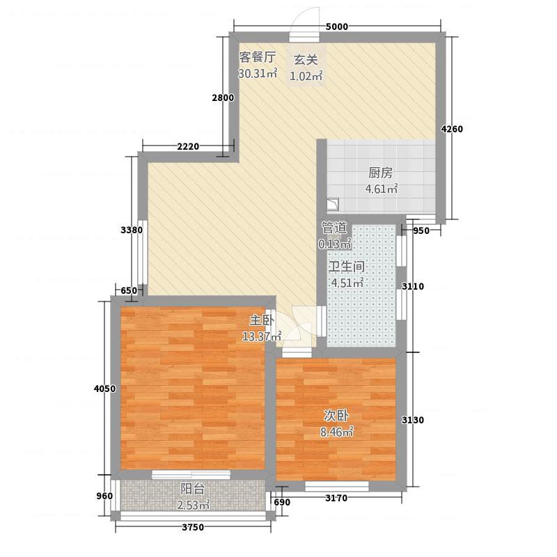 宏远宜居园86.00㎡高层户型2室2厅1卫1厨