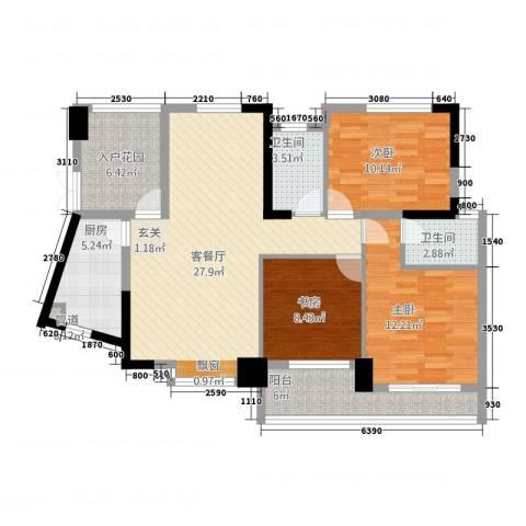 嘉豪 ・公园世家3室1厅2卫1厨120.00㎡户型图
