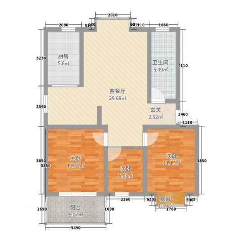 福泽苑3室1厅1卫1厨73.75㎡户型图