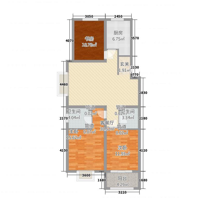 中达・名门世家125.00㎡J户型3室2厅2卫
