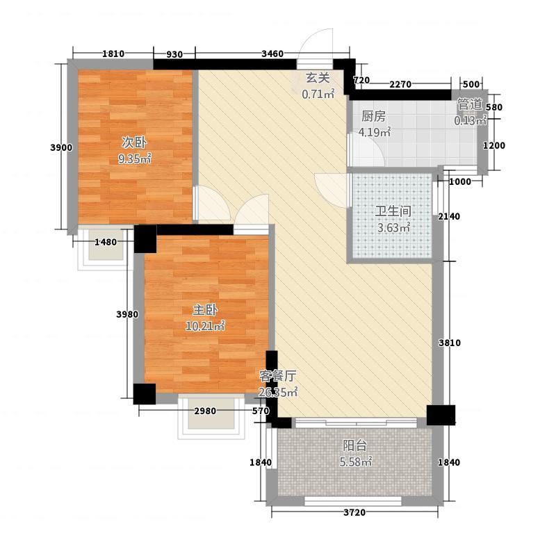 建阳融华锦城2282.20㎡E户型2室2厅1卫
