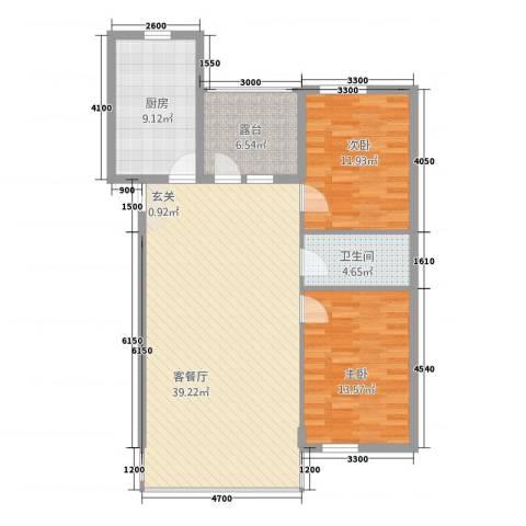 宗裕・悦鑫国际2室1厅1卫1厨114.00㎡户型图