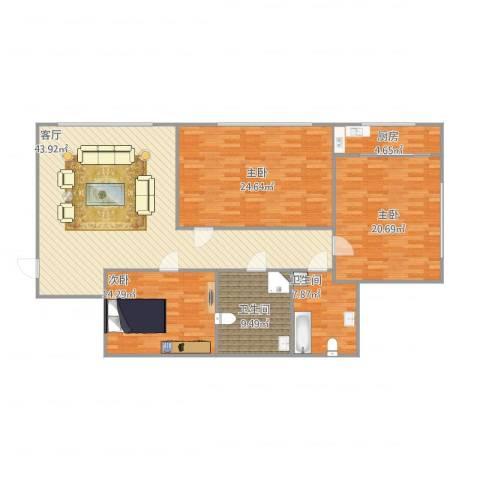 晨光花园3室1厅2卫1厨166.00㎡户型图