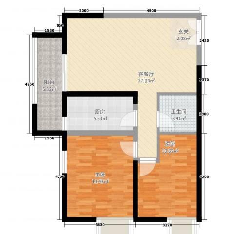 鹏豪苑2室1厅1卫1厨94.00㎡户型图