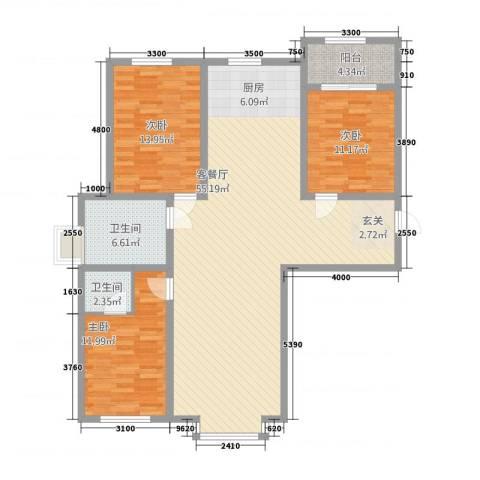 金桥花园3室1厅2卫0厨149.00㎡户型图
