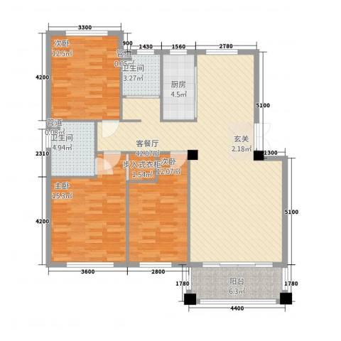 山水人家3室1厅2卫1厨143.00㎡户型图