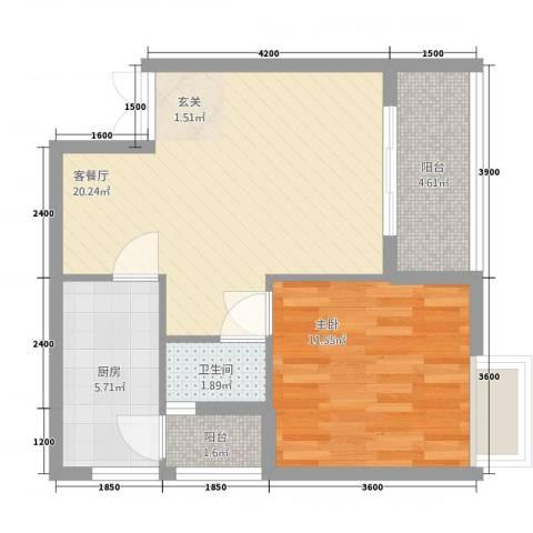 隆盛一品天下1室1厅1卫1厨59.00㎡户型图
