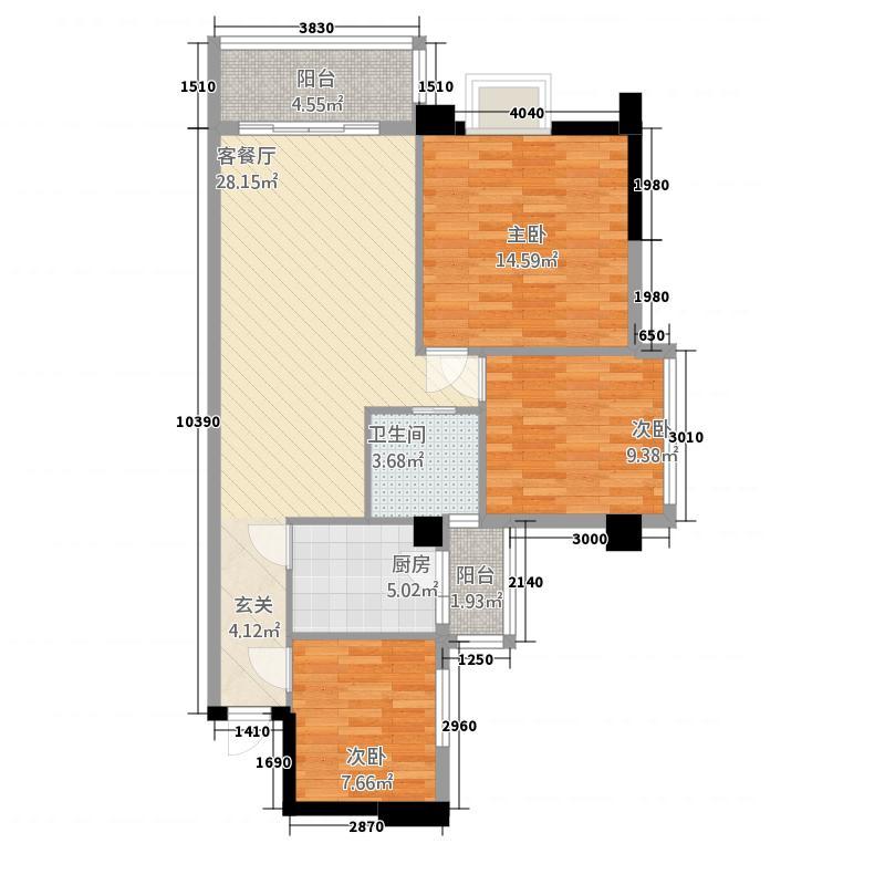 文泉尚座1.70㎡B2户型3室2厅1卫1厨