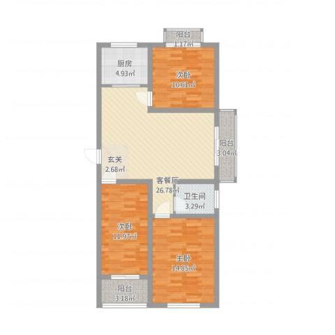 海纳・现代城二期3室1厅1卫1厨115.00㎡户型图
