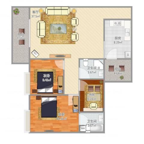 增城怡康花园3室1厅2卫1厨128.00㎡户型图