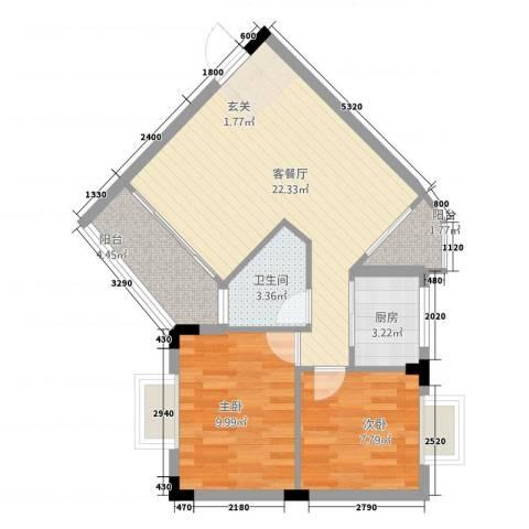 桦润馨居2室1厅1卫1厨75.00㎡户型图