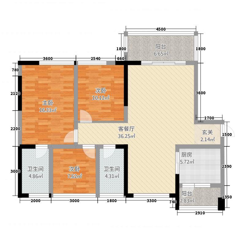 中铁仁禾广场116.37㎡C2户型3室2厅2卫1厨