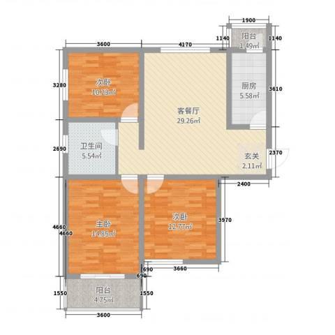 水岸云天3室1厅1卫1厨84.46㎡户型图