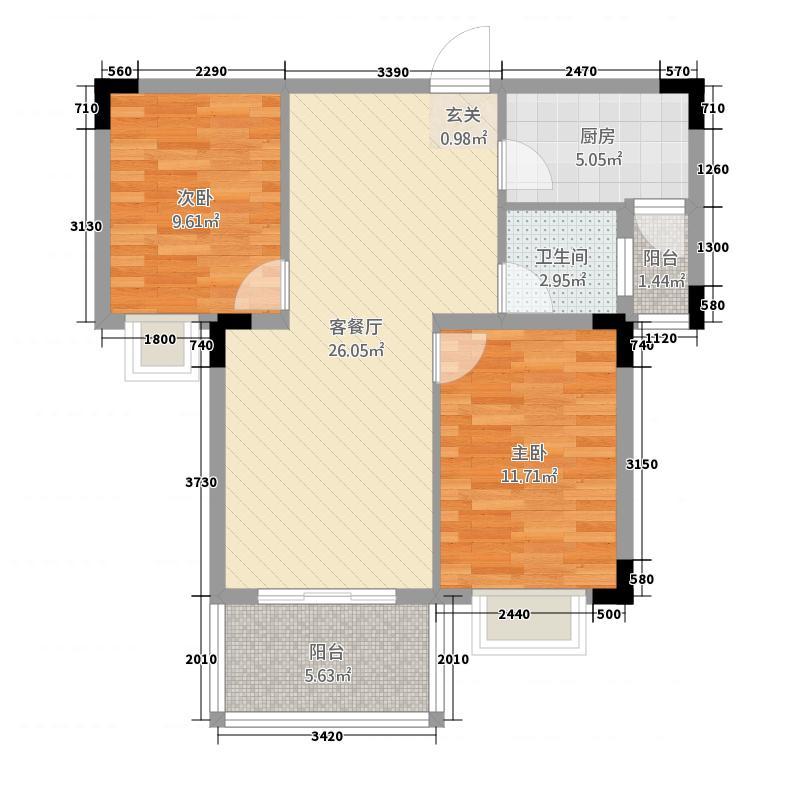江南岸2288.77㎡户型2室2厅1卫1厨