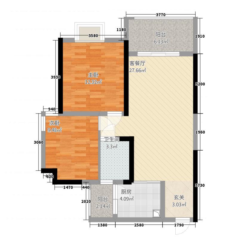 观澜城邦76.00㎡A5户型2室2厅1卫1厨