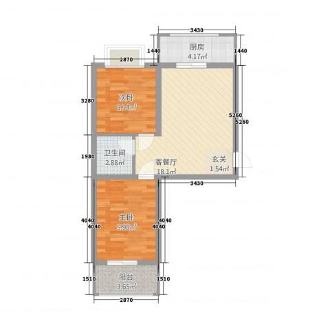 御居华庭2室1厅1卫1厨68.00㎡户型图
