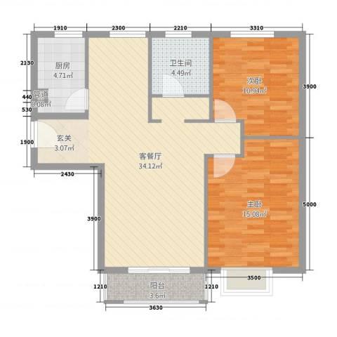 中南阳光酒店2室1厅1卫1厨102.00㎡户型图
