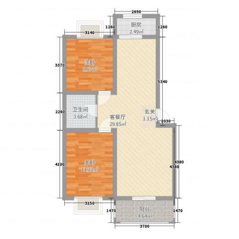 御居华庭2室1厅1卫1厨89.00㎡户型图