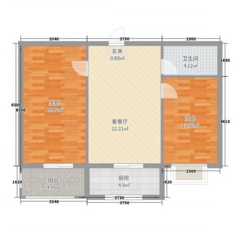 御居华庭2室1厅1卫1厨81.00㎡户型图