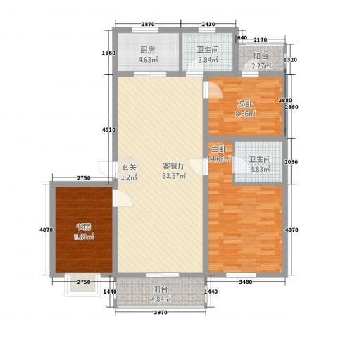 御居华庭3室1厅2卫1厨122.00㎡户型图