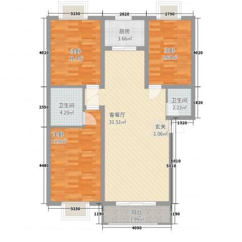 御居华庭3室1厅2卫1厨112.00㎡户型图