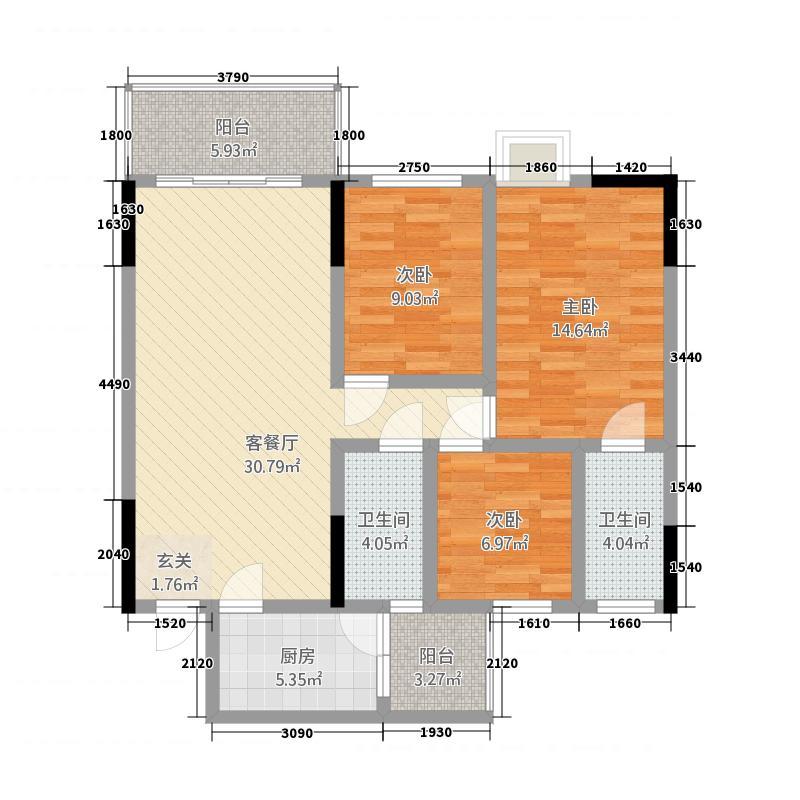 望江春岸116.00㎡C户型3室2厅2卫1厨