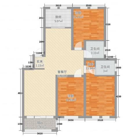 泰南苑3室1厅2卫1厨84.49㎡户型图