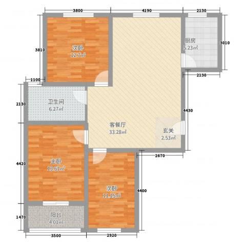 新都市华庭3室1厅1卫1厨123.00㎡户型图