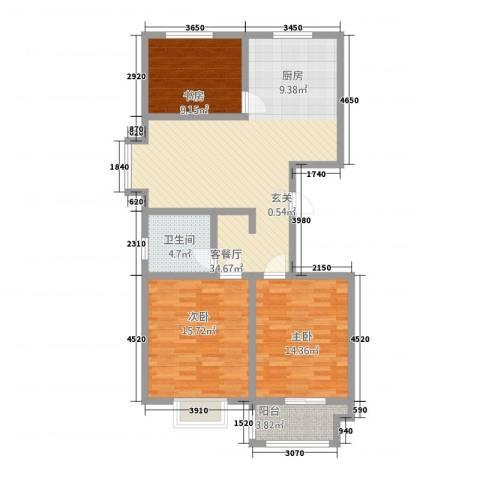 东方太阳城3室1厅1卫0厨118.00㎡户型图