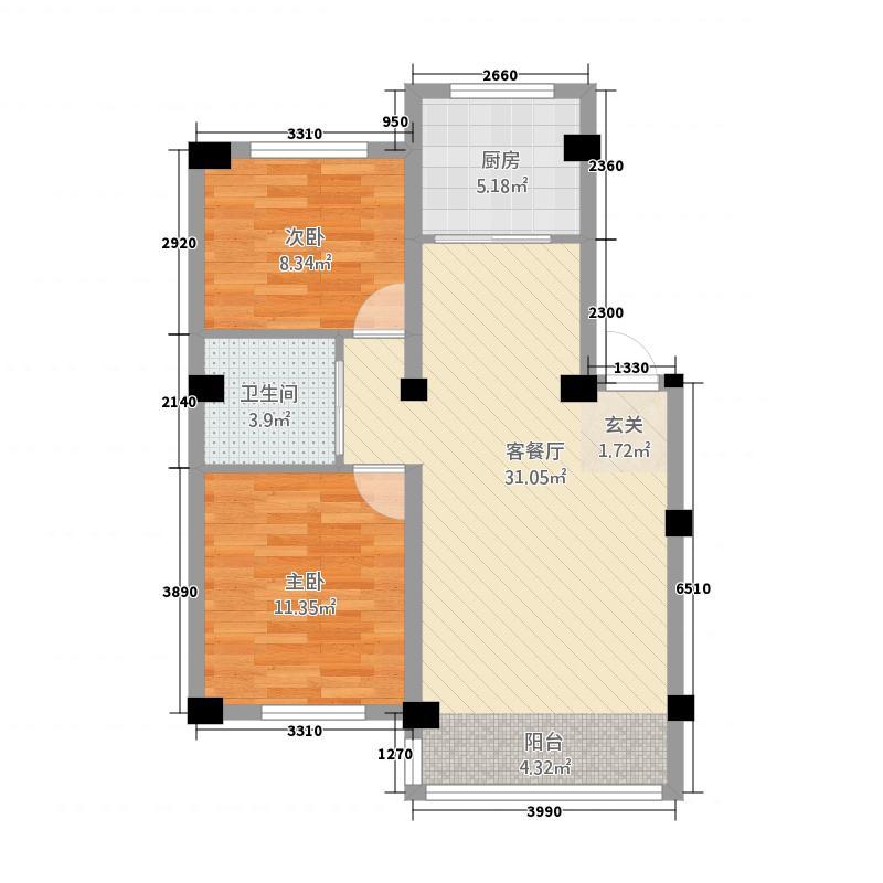 韩国城85.00㎡户型2室2厅1卫1厨