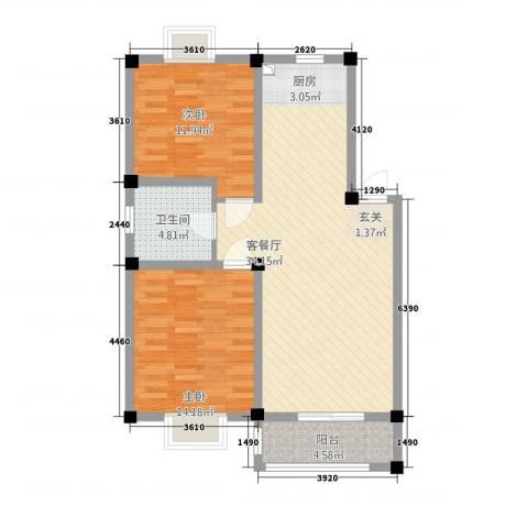 凯莱花园2室1厅1卫0厨99.00㎡户型图