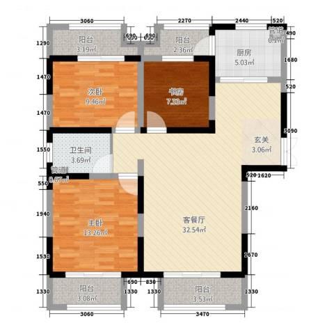 景徽国际3室1厅1卫1厨124.00㎡户型图