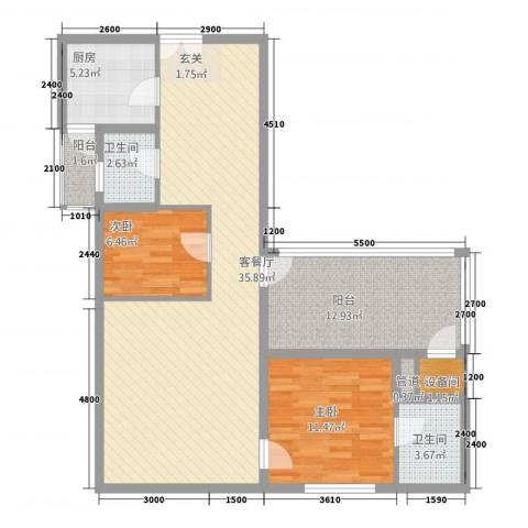 福星都市时尚2室1厅2卫1厨81.39㎡户型图