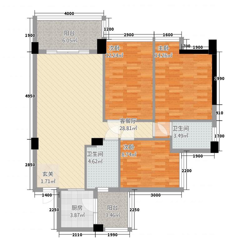 文泉尚座17.40㎡A4型户型3室2厅2卫1厨