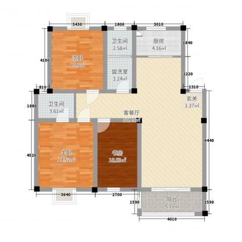 凯莱花园3室2厅2卫1厨133.00㎡户型图
