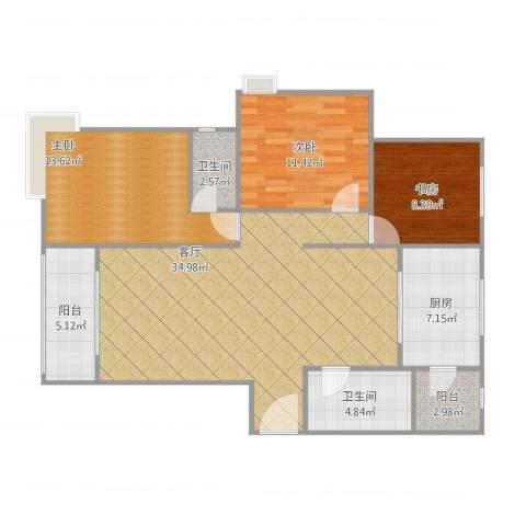 尚层名筑3室1厅2卫1厨123.00㎡户型图